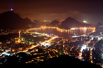 Wall Mural - Night View of Rio de Janeiro with Lake and Ipanema Beach
