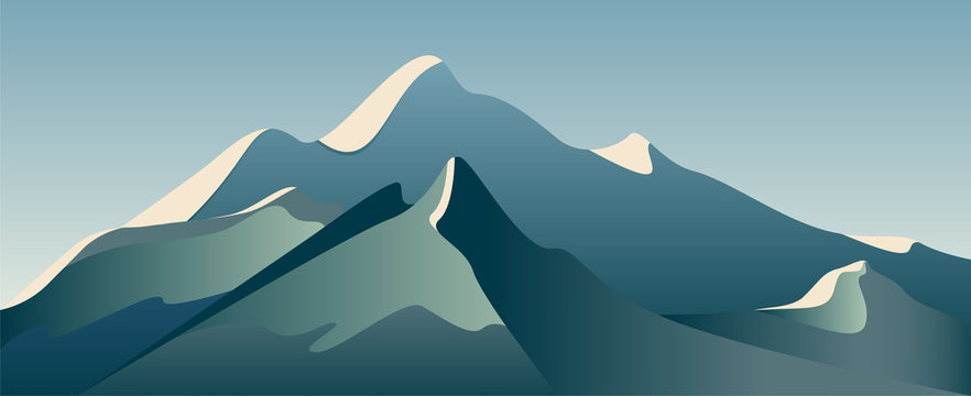 Low poly beautiful mountain landscape. Vector illustration.