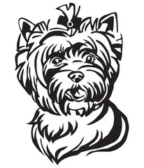 Decorative portrait of Dog Yorkshire Terrier vector illustration