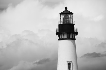 Black and white photo of the Yaquina Head Lighthouse, Newport, Oregon Wall mural