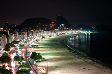 Copacabana Beach at Night with the Sugarloaf Mountain in the Horizon, Rio de Janeiro, Brazil