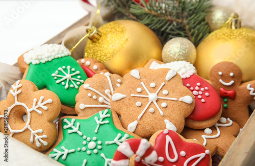 Crate With Tasty Homemade Christmas Cookies Closeup Stock Photo