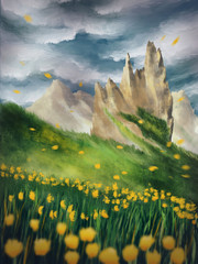Environment, digital painting with mountains, meadows and yellow flowers and yellow petals