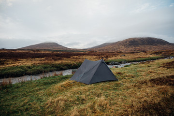 Wild camping in Corrour, Highlands of Scotland