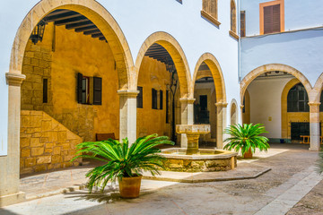 Main courtyard of the Almudaina palace in Palma de Mallorca, Spain