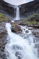 Fossa waterfall, Sunda municipality, Streymoy Island, Faroe Islands, Denmark, Europe