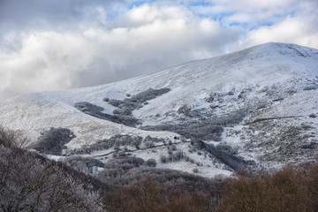 Monte Cucco mountain in winter, Apennines, Umbria, Italy, Europe