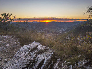 Sunset from the countryside in autumn, Gubbio, Umbria, Italy, Europe