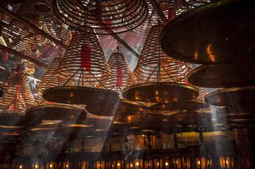 Man Mo Temple with incense coils, Hong Kong, China