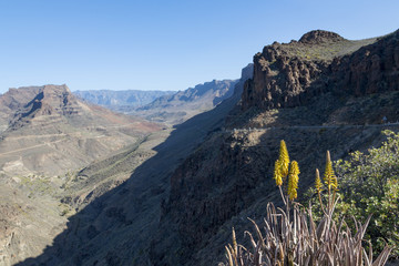 Barranco de Fataga canyon seen from Degollada de La Yegua viewpoint, Gran Canaria, Canary Islands, Spain, Europe