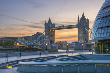 Tower Bridge over River Thames and City Hall, London, England, United Kingdom, Europe