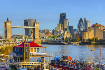 Tower Bridge over River Thames and City of London skyline, London, England, United Kingdom, Europe
