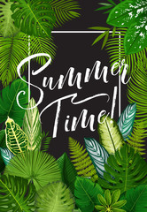 Tropical summer holiday banner of exotic palm leaf