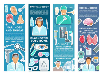Vector medical banners for health medicine