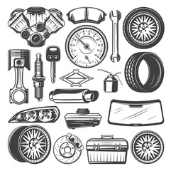 Car spare parts and instruments vector sketch set