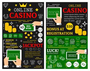 Online casino poker jackpot vector posters