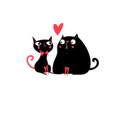 Illustration of enamored cats