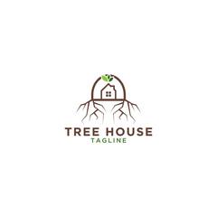 Tree house logo design template