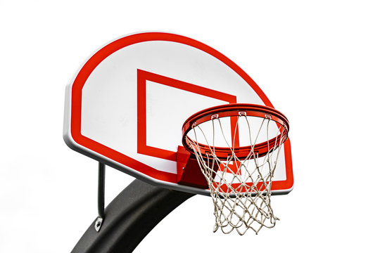 Red Outdoor Basketball Hoop with small backboard