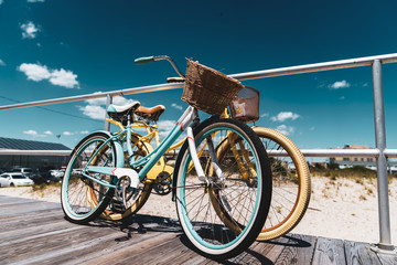 Poster Bicycle Old Style Bikes on New Jersey Shore Beach Boardwalk