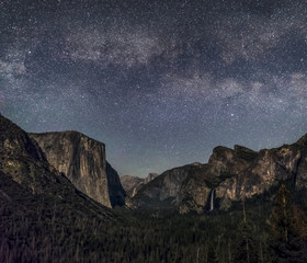 Moonlit Valley of Yosemite - California, USA