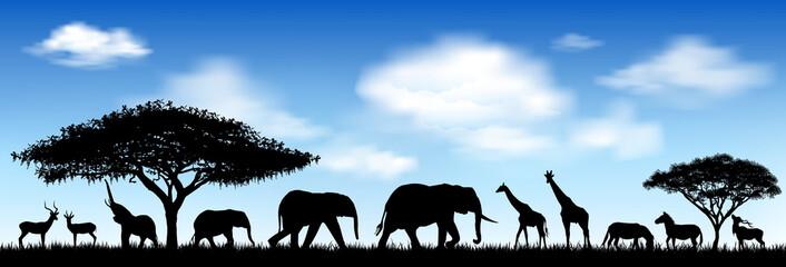 African animals, savanna. Silhouettes of wild animals of the African savannah
