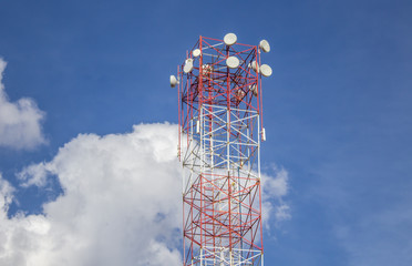 Tower of wireless Internet. Blue sky with clouds in the background with copy space for adding text.
