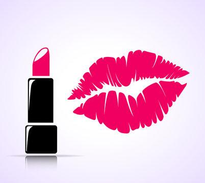 lipstick and kiss print concept