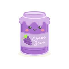 Cute Grape Jelly Jam Bottle Jar Vector Illustration Cartoon Smile