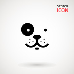 Dog head icon. Flat style. Cartoon dog face. Vector illustration isolated on white. Silhouette simple. Animal Logotype concept. Logo design template