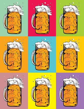 Color vector image of a beer mug. Drink with a lot of foam. Draught beer. Pop art  poster of beer mug