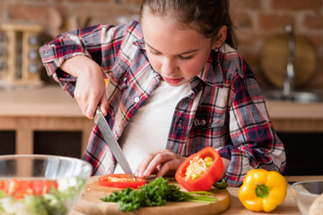 child cooking skills. little girl learning to cut vegetables. culinary education and family lifestyle