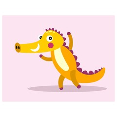 cheerful friendly yellow crocodile alligator mascot cartoon character