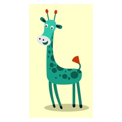 funny tall green giraffe mascot cartoon character