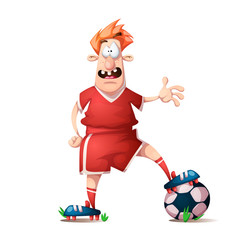 Funny, cute cartoon football player. Vector eps10