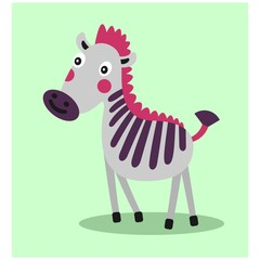 cute funny stripe zebra horse mascot cartoon character