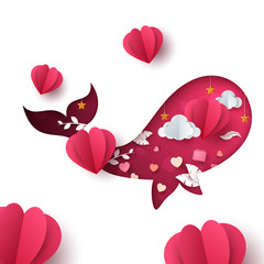 Valentines day illustration. Whale paper cartoon characters. Vector eps 10