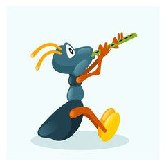 small blue ants play a flute instrument mascot cartoon character