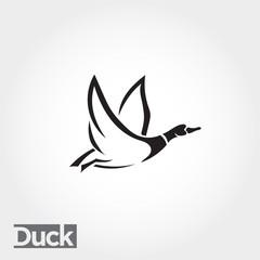 elegant line art Flying duck, goose, swan logo