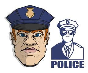Hand drawn police man. Professional Police Protection concept. Rescuer. Police character head in uniform. Vector artwork