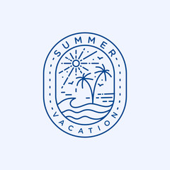 Summer vacation logo badge template vector illustration
