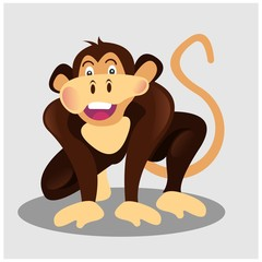 funny brown monkey ape chimpanzee primate mascot cartoon character