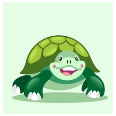 happy cheerful green turtle tortoise mascot cartoon character