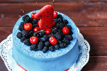 birthday cake with blackberry