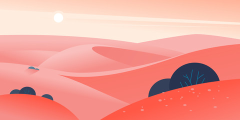 Vector flat summer landscape illustration with desert hills and dunes on clear hot sunny sky. Perfect for touristic advertisement, tour poster, placard, flayer, leaflet, banner. Nature beautiful view.