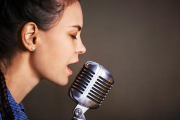 Beautiful woman singing.