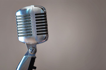Closeup of legendary retro microphone.