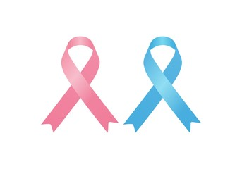 October breast cancer emblem sign for awareness month with pink ribbon symbol