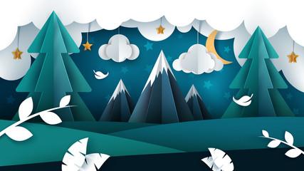 Cartoon night landscape. Paper illustration. Vector eps 10