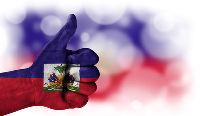 hand thumbs up, flag of Haiti.